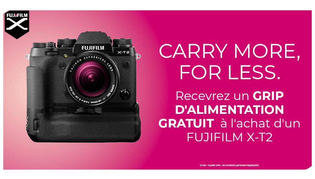 Fujifilm-recevez un grip d'alimentation à l'achat d'un Fujifilm XT 2